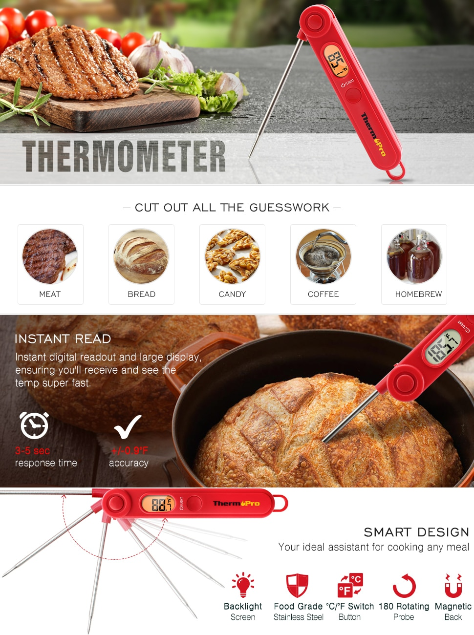 ThermoPro TP03 Smart Design for Cooking