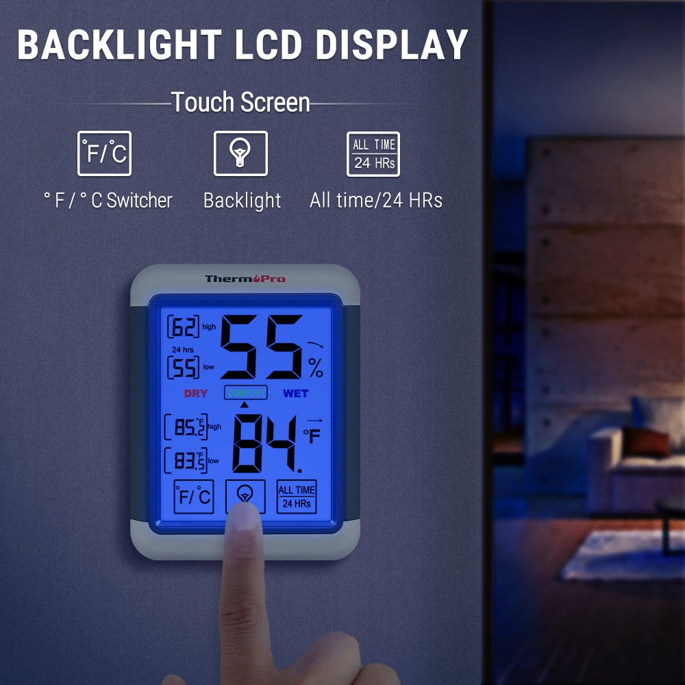 Digital Hygrometer Temperature Humidity Meter with LCD Display Screen Clear and Intuitive Digital Display