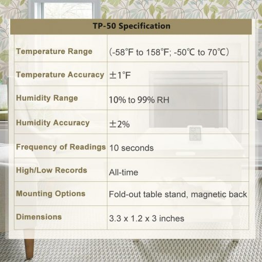 ThermoPro TP-50 Temperature and Humidity Monitor Specification