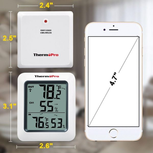 Thermopro TP60 Thermometer Humidity Monitor Dimensions