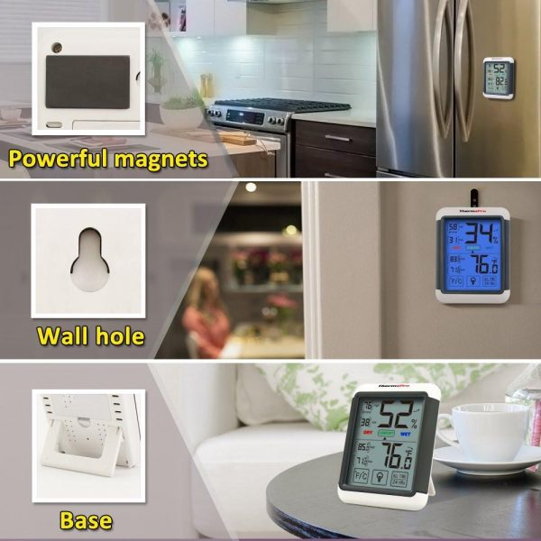 ThermoPro TP-55 Humidity and Temperature Monitor Mounting  Options - Magnetic