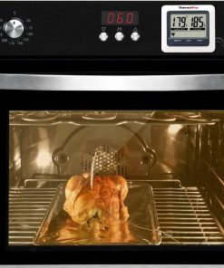 ThermoPro TP-04 Thermometer Inserted into Chicken Within the Oven