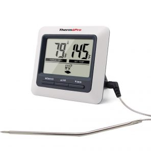 ThermoPro TP-04 Thermometer Front View Probe Cord Attached
