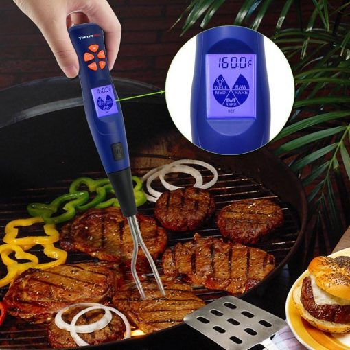 ThermoPro TP-05 Thermometer Fork Probe Inserted In Steak