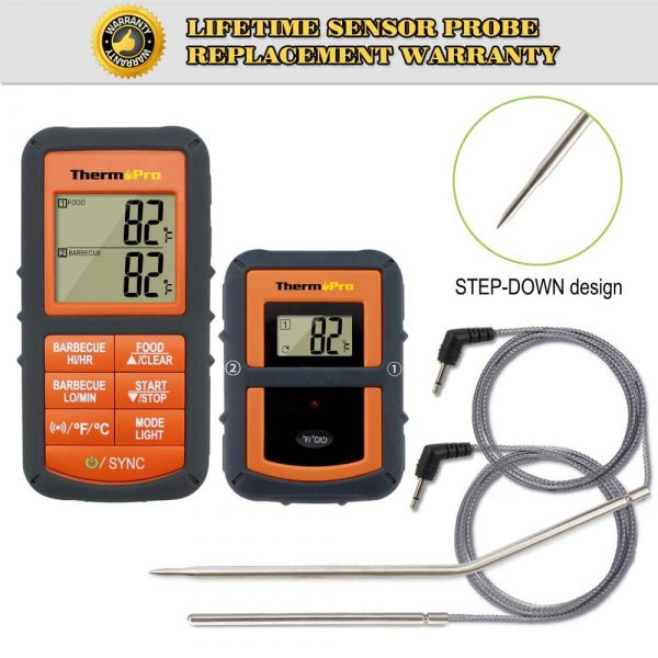 ThermoPro TP-08 Thermometer Front View Transmitter and Receiver Probe Cords Removed
