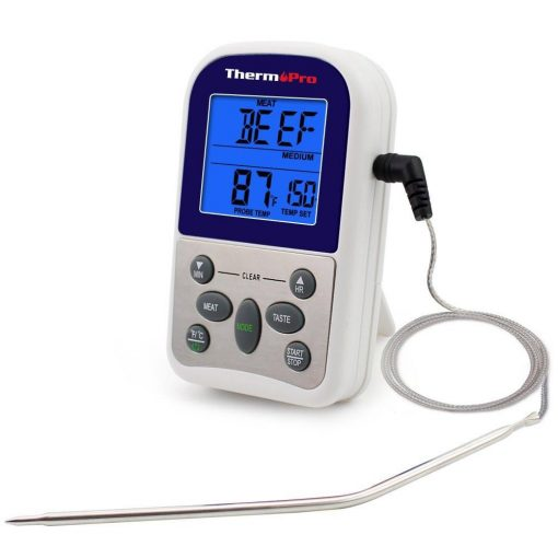 ThermoPro TP 10 Thermometer Front View Probe Cord Attached