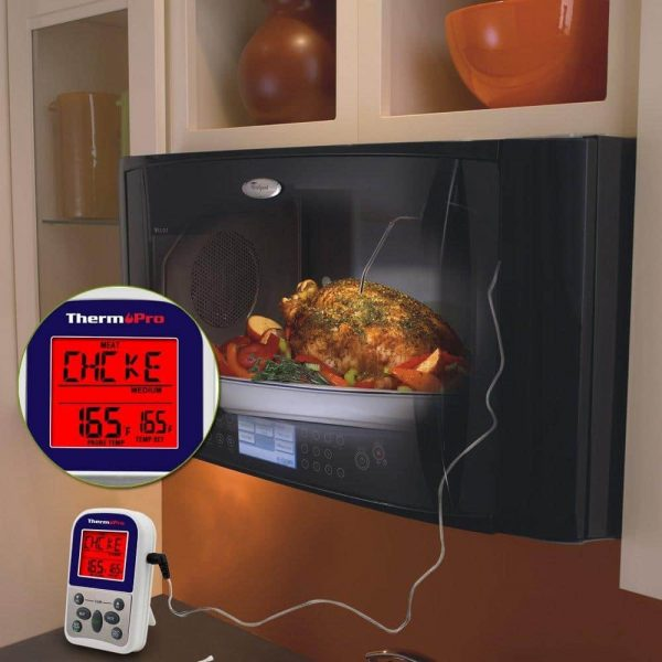 ThermoPro TP 10 Thermometer Probe Inserted In Chicken In Oven