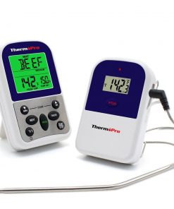 ThermoPro TP-11 Thermometer Front View Receiver and Transmitter Probe Cord Attached