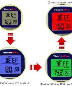 ThermoPro TP-11 Digital Wireless Thermometer Smart LCD Display - Changes Color as Cooking Progresses