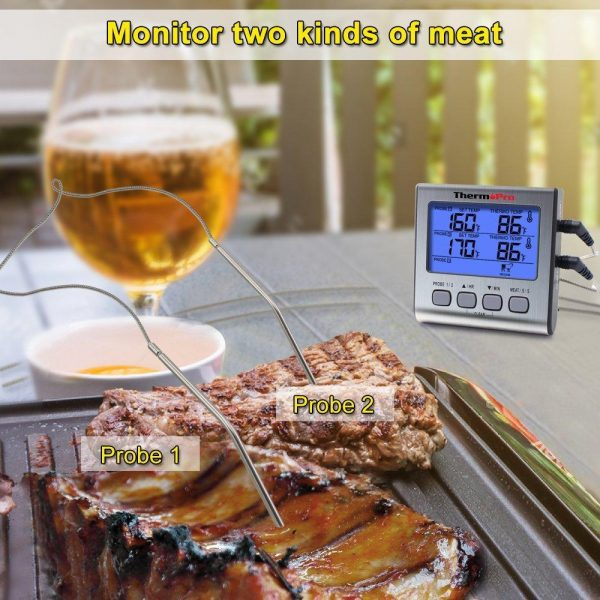 ThermoPro TP-17 Digital Meat Thermometer - Monitor Two Kinds of Meat