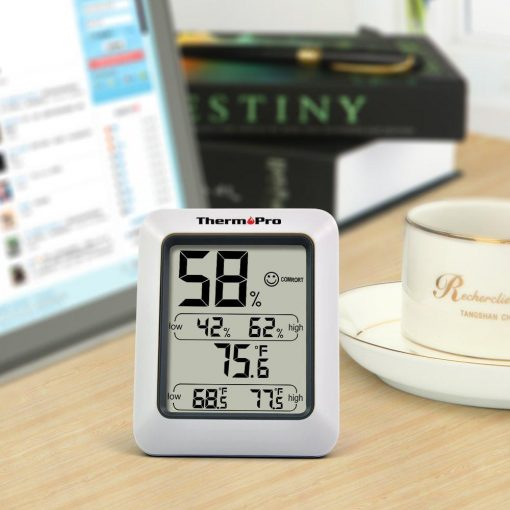 ThermoPro TP-50 Humidity and Temperature Monitor Placed on a Desk