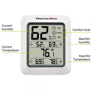 ThermoPro TP-50 Humidity and Temperature Monitor Front Labelled