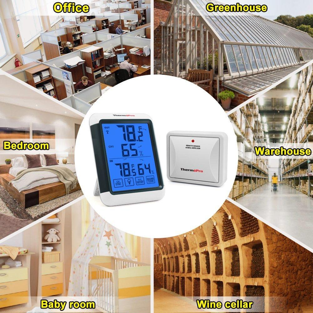 ThermoPro TP-65 Indoor Outdoor Temperature and Humidity ...