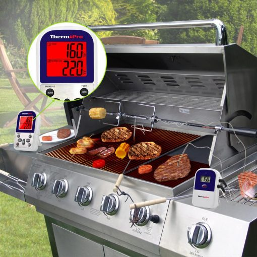 ThermoPro TP-12 Digital Wireless Thermometer Inserted into Steak on a BBQ