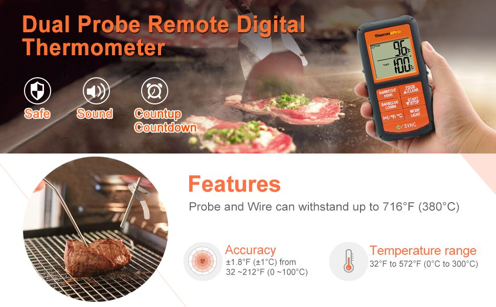 Dual Probe Remote Digital Thermometer