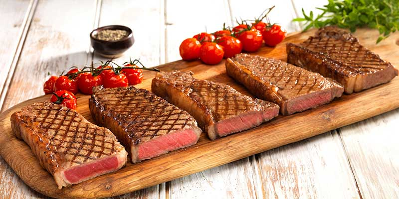 different stages of steaks