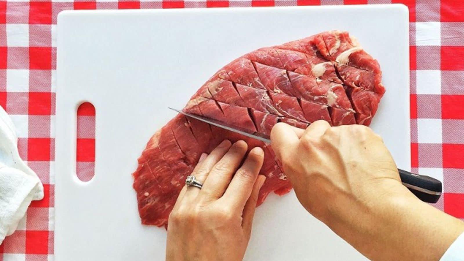 score the meat