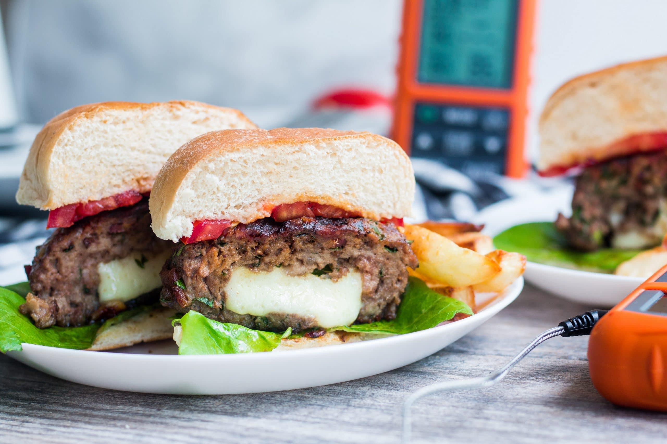 ThermoPro Recipe Cheddar Stuffed Burgers