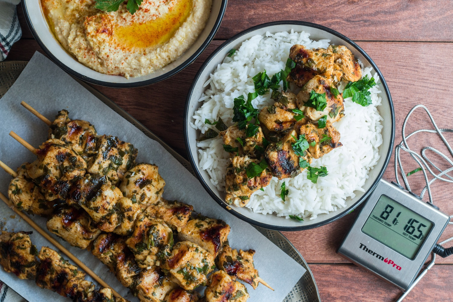 Middle Eastern Chicken Skewers with Hummus Banner