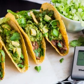 Crunchy Steak Tacos with Poblano Sauce Banner
