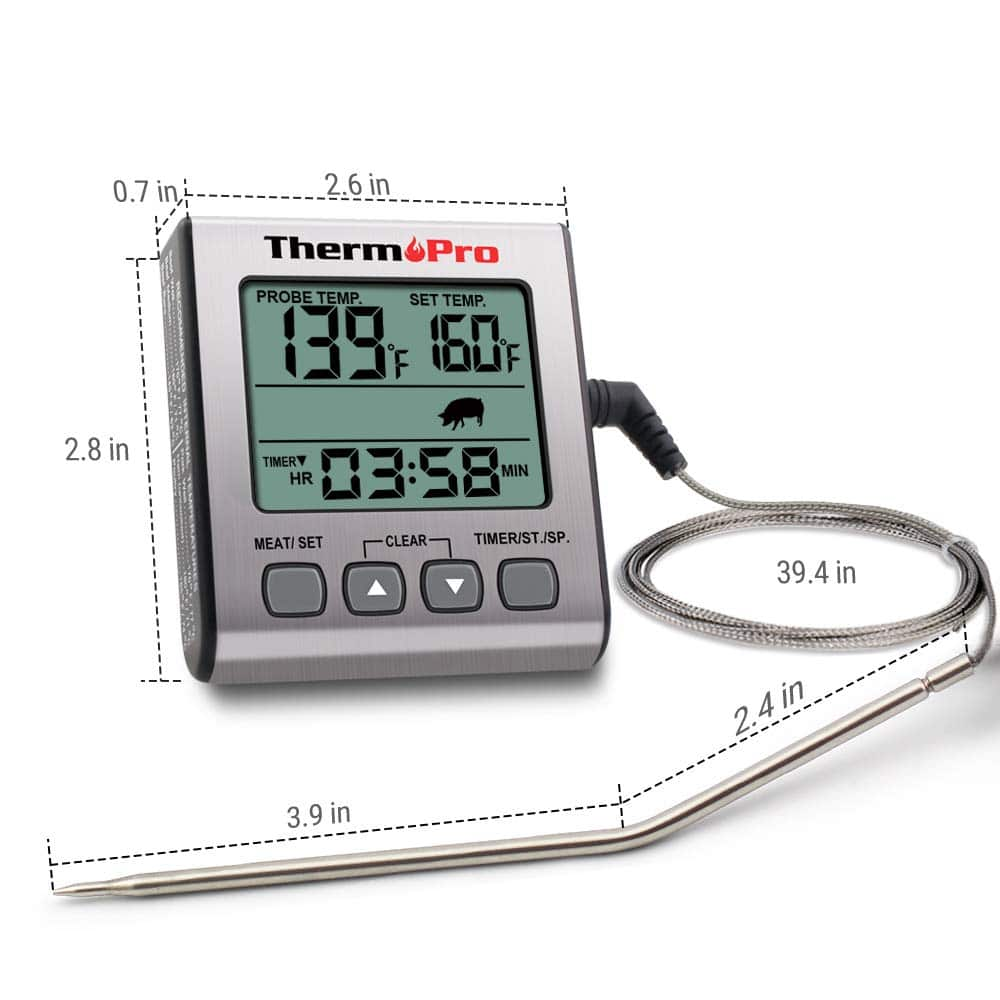 ThermoPro Digital Meat Thermometer Smoker Grill Oven BBQ Kitchen Timer/&Backlight