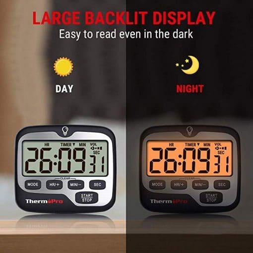ThermoPro TM01 Digital Kitchen Timer large Backlit Display