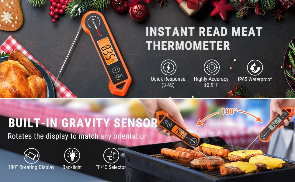 ThermoPro TP19H Digital Instant Read Meat Thermometer for Grilling BBQ Waterproof