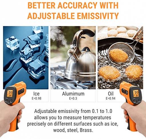ThermoPro Thermometer Gun Adjustable Emissivity