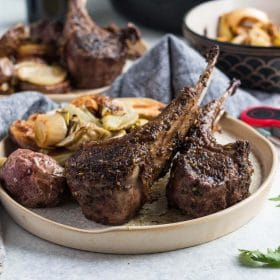 Lamb Chops with Fennel and Photatoes