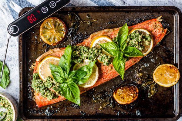 Baked Pesto and Salmon Recipe