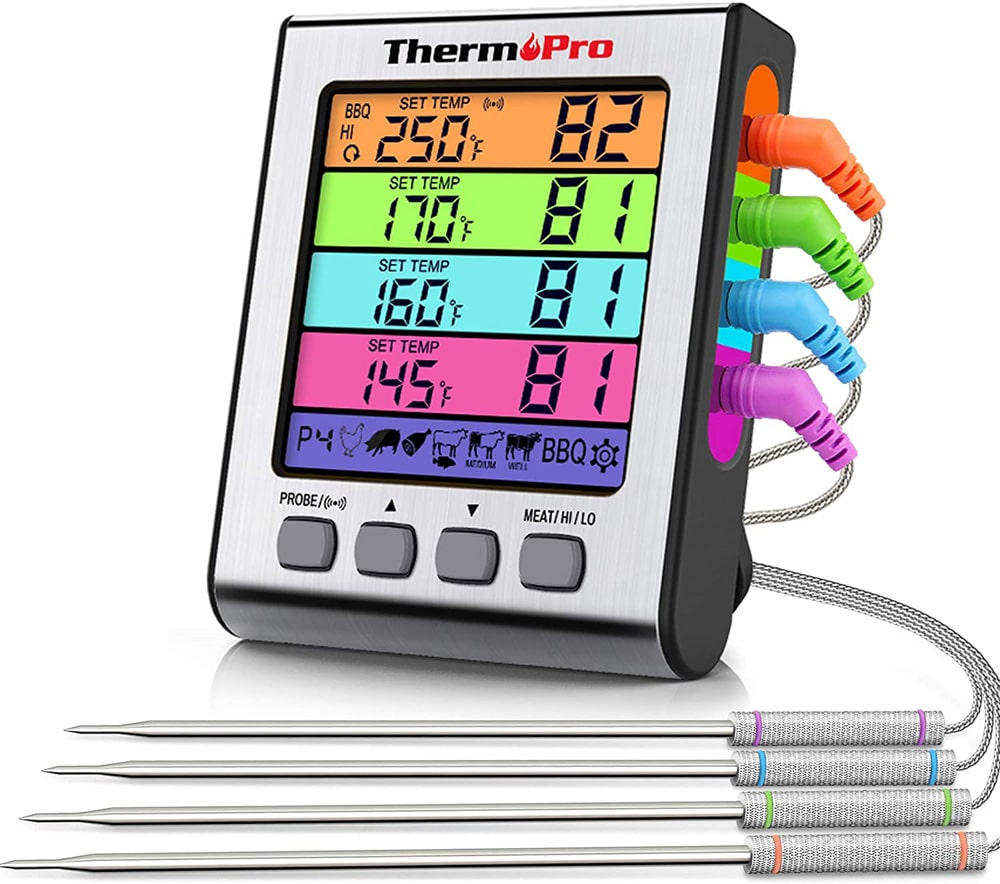 Thermopro TP17H Digital BBQ Oven Smoker Thermometer with 4 probes