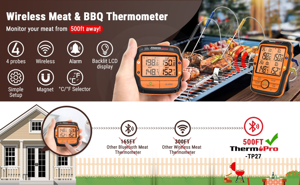 ThermoPro TP27 Long Range Wireless Meat Smoker Thermometer Banner 1